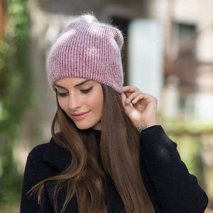 2019 new simple Rabbit fur Beanie Hat for Women Winter Skullies Warm Gravity Falls Cap Gorros Female Cap