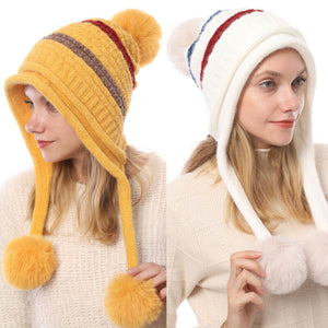 Hot Fashion Women's Hat Winter Fur Pom Pom Knit Beanie Ski Cap Bobble Cute Beanies 6 Colors