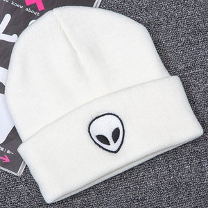 Hot Sale Embroidery Alien Hat Winter Men And Women Cuff Hats Soft Solid Beanies Hip Hop Unisex Warm Knitted Caps Gorros De Lana