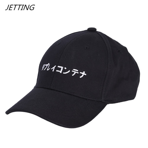 2018 New Solid Japanese letter Baseball Caps Embroidery Hip Hop bone Snapback Hats Men Women Adjustable Gorras Casquette Unisex