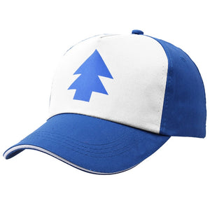2018 Gravity Falls Baseball Cap BLUE PINE TREE Hat Cartoon Hip Hop Snapback Cap New Curved Bill Dipper Adult Men Dad Hat