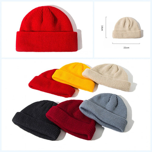 1PC Cotton Thick Knitting Hat Solid Warm Winter Beanie Caps Yellow Red Black Grey Hat For Women Men