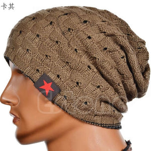 Winter Warm Men Star Skull Chunky Hat Women Knit Beanie Reversible Baggy Snow Cap Male Oversize Cap Warm Causal Accessories