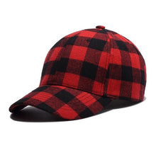 Load image into Gallery viewer, Red Plaid Men's Baseball Cap Unisex Snapback Bones Cap male Gorras Hombre Cotton Dad Hat Casquette Casual Women's baseball Cap