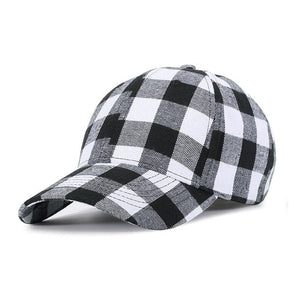 Red Plaid Men's Baseball Cap Unisex Snapback Bones Cap male Gorras Hombre Cotton Dad Hat Casquette Casual Women's baseball Cap