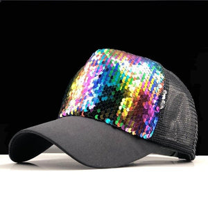 2019 New Summer Parent-child Baseball Caps Adjustable Sequins girls Mesh Cap boy sun Hats women Snapback 50-54-58-60cm