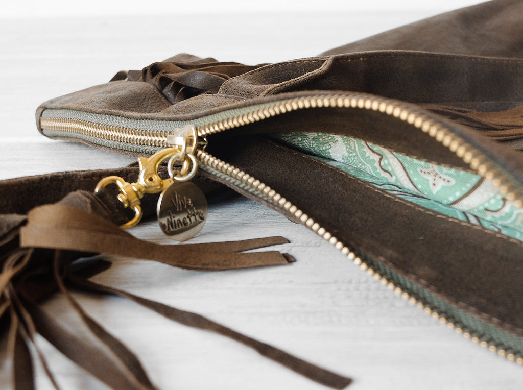 Charlotte Fringe | Brown - Vive Ninette | One of a kind leather handbags