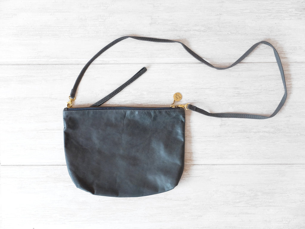 Isabelle | Gray cow - Vive Ninette | One of a kind leather handbags