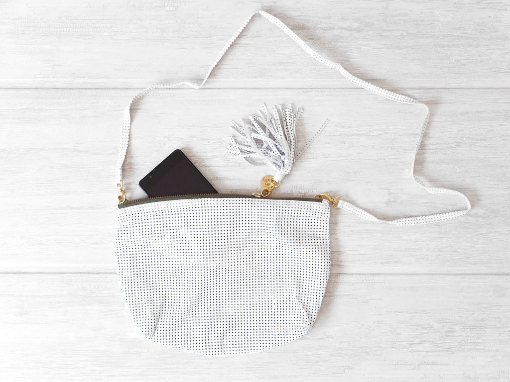 Isabelle | White cut-out - Vive Ninette | One of a kind leather handbags