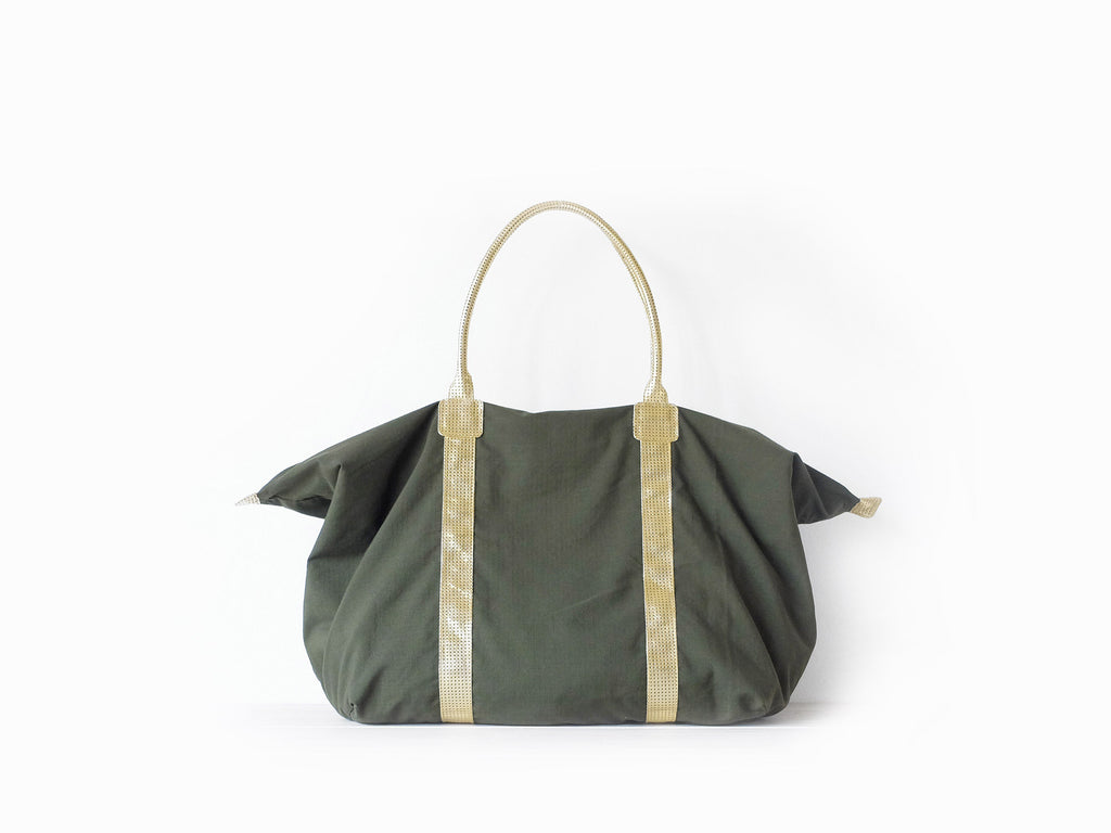 Traveller | Army - Vive Ninette | One of a kind leather handbags