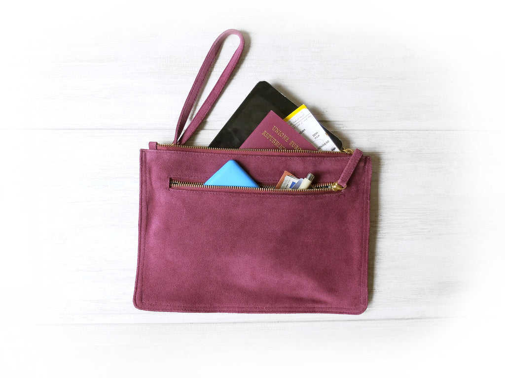 Clutch Flat | Purple suede - Vive Ninette | One of a kind leather handbags