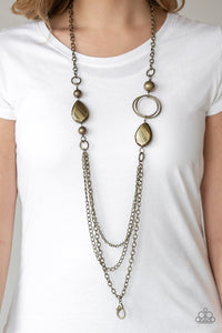 Paparazzi Rebels Have More Fun - Brass Lanyard - Necklace & Earrings  Location  25