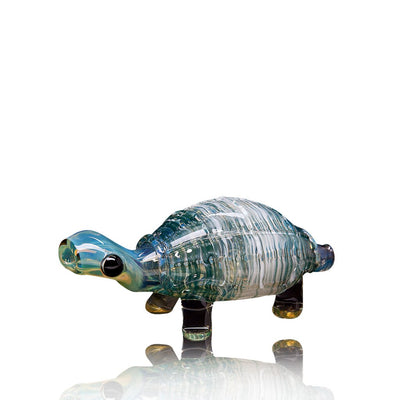 Sculpted Turtle Pipe - Chameleon Glass