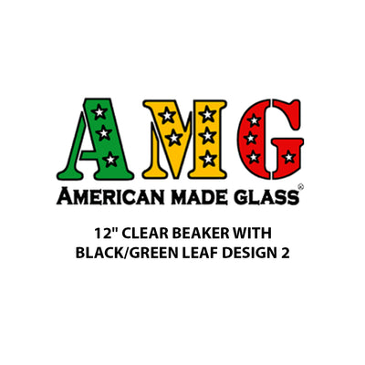 "12"" Clear Black and Green Leaf Design Beaker - AMG"