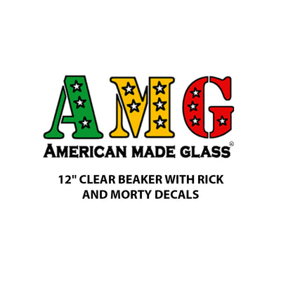 "12"" Clear Beaker with Rick and Morty Decals - AMG"