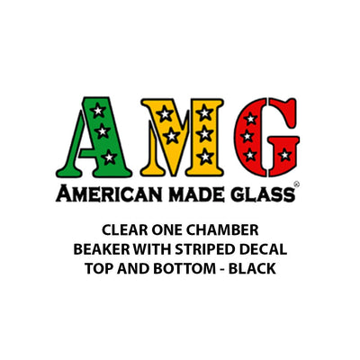 Clear One Chamber Striped Decal Beaker - AMG
