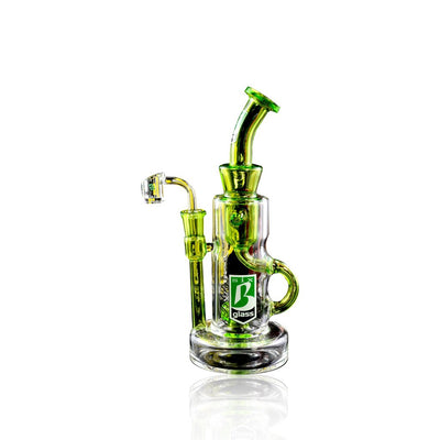Stemless GoG Recycler Water Pipe With Inline Showerhead Perc - 6B Glass