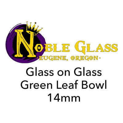 Glass On Glass Green Leaf 14mm Bowl by Noble Glass