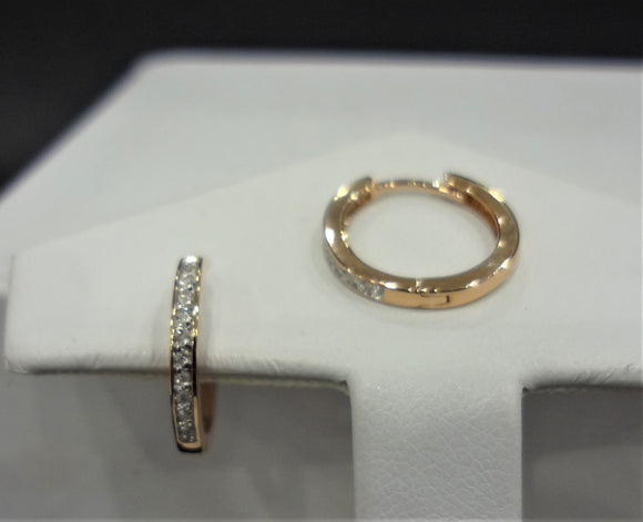 Rose Gold Diamond Hoop Earrings .15ct