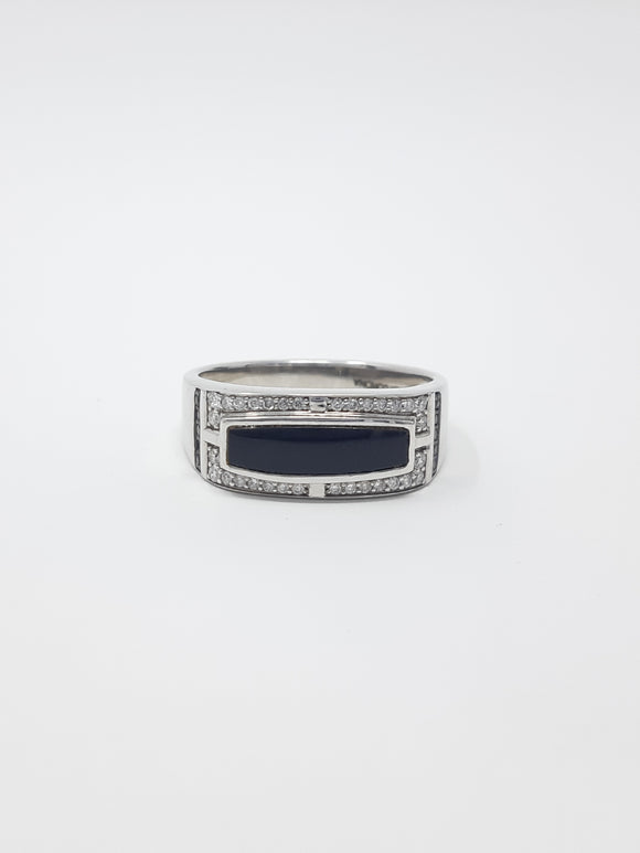 MENS ONYX AND DIAMOND BAND