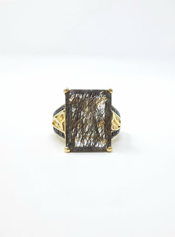 Tourmalinated Quartz and Black Diamond Ring