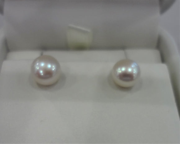 Silver Fresh Water Pearl Stud Earrings