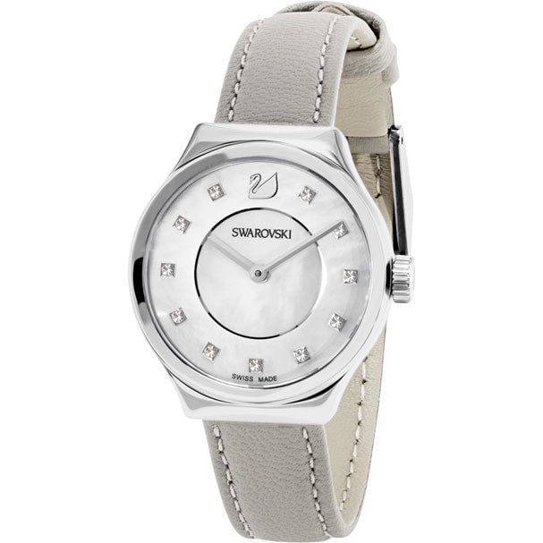 Swarovski Dreamy Watch, Leather strap, Grey, Silver tone 5219457