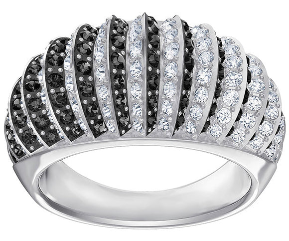 SWAROVSKI LUXURY:RING DOMED JET/CRY/RHS 55 5406948