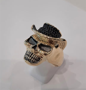 10KY Men's Skull with Cowboy Hat Ring