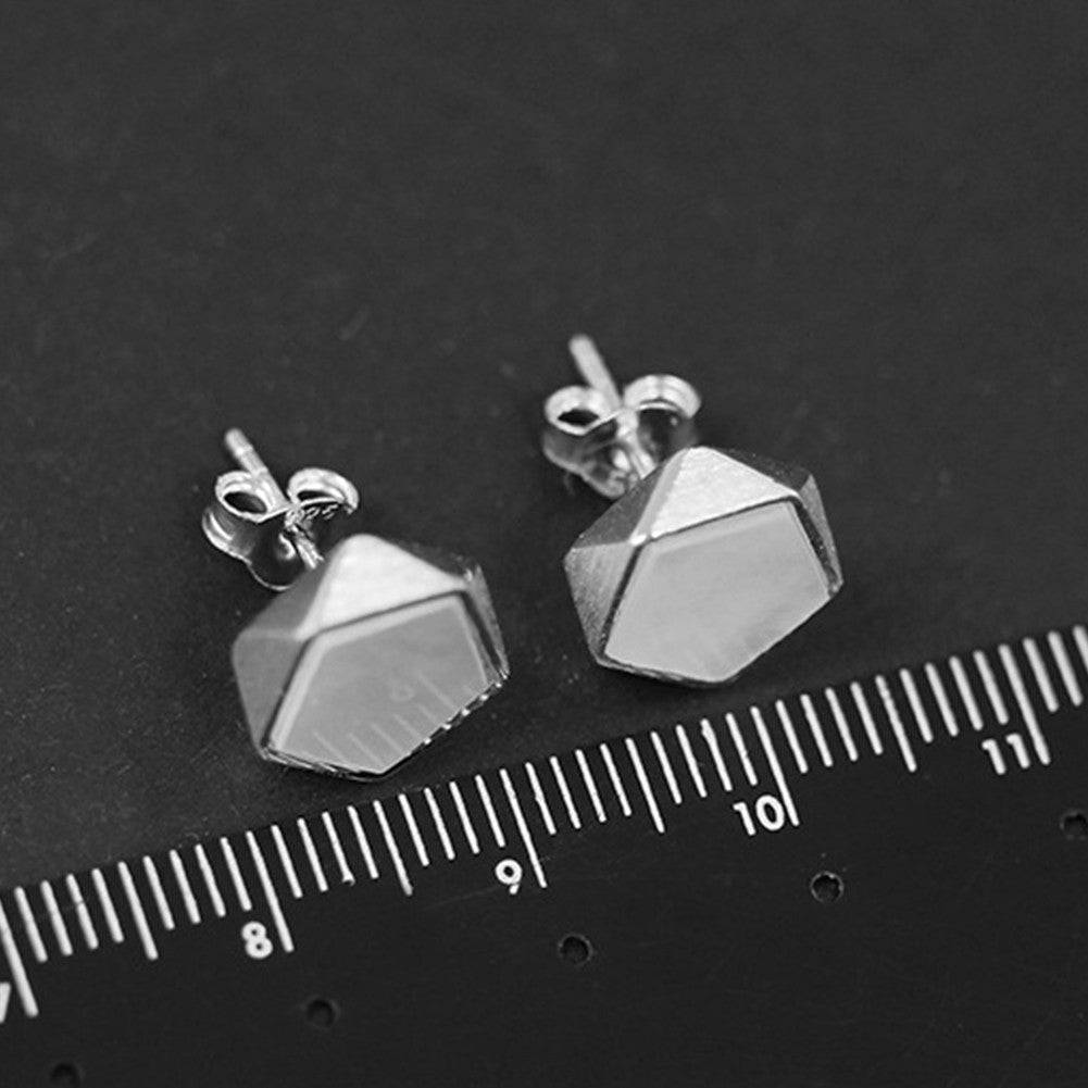 925 Sterling Silver Creative North European Style Geometric Angles Design Fine Jewelry Stud Earrings