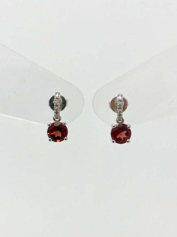 Garnet and Diamond Earrings