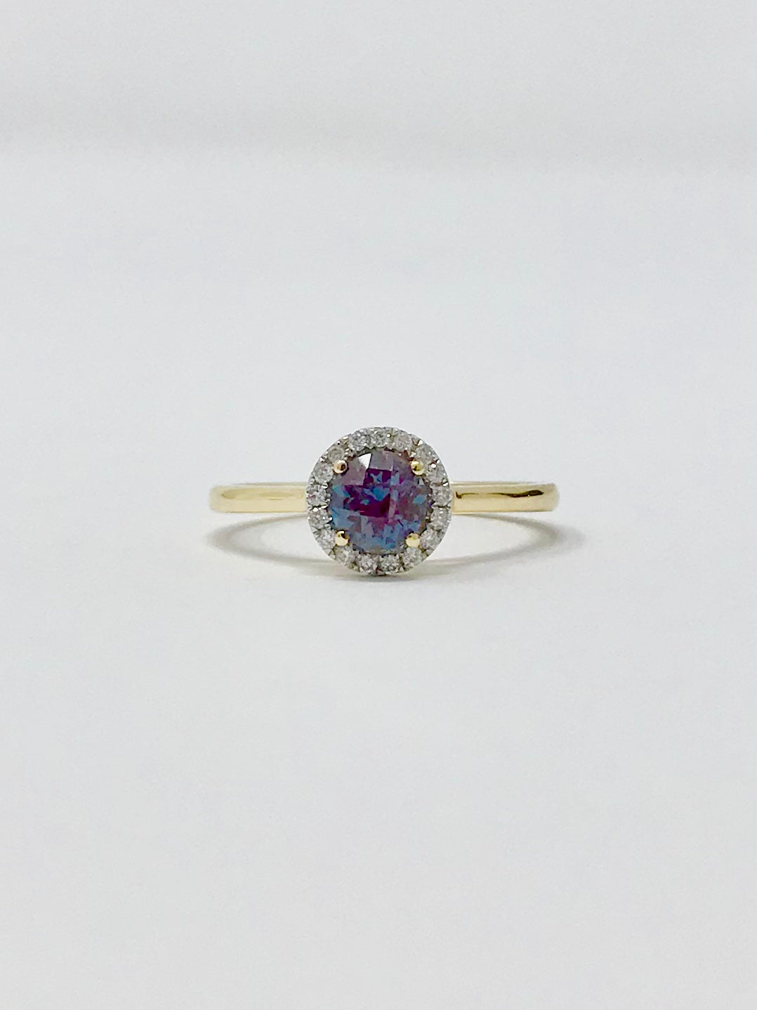 Created Alexandrite and Diamond Ring