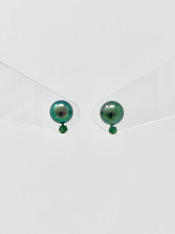 Cultured Black Pearl with Emerald Earrings