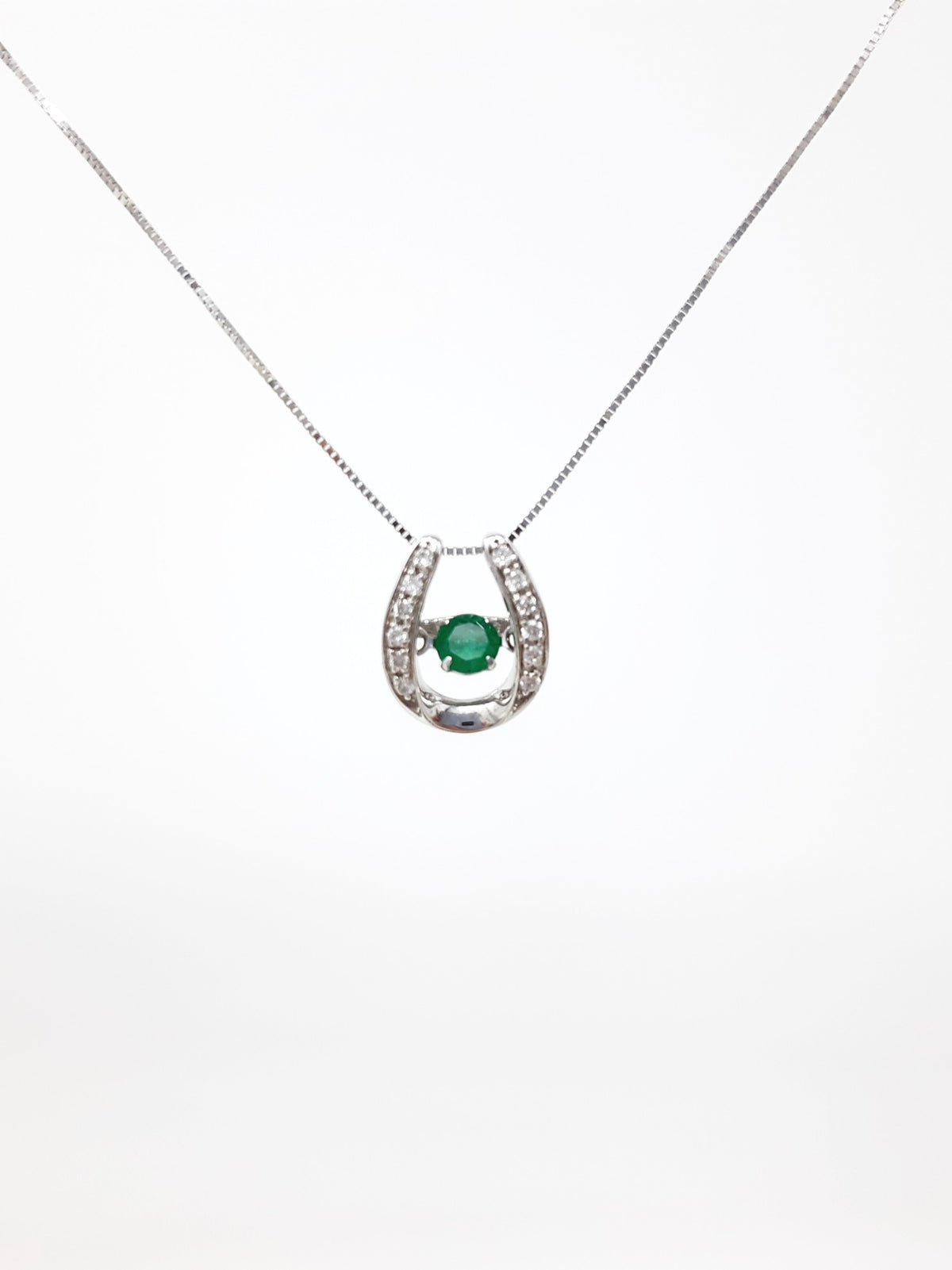 10K White Gold 0.15cttw Round Cut Genuine Emerald and0.07cttw Round Cut  Diamonds Necklace, 18""