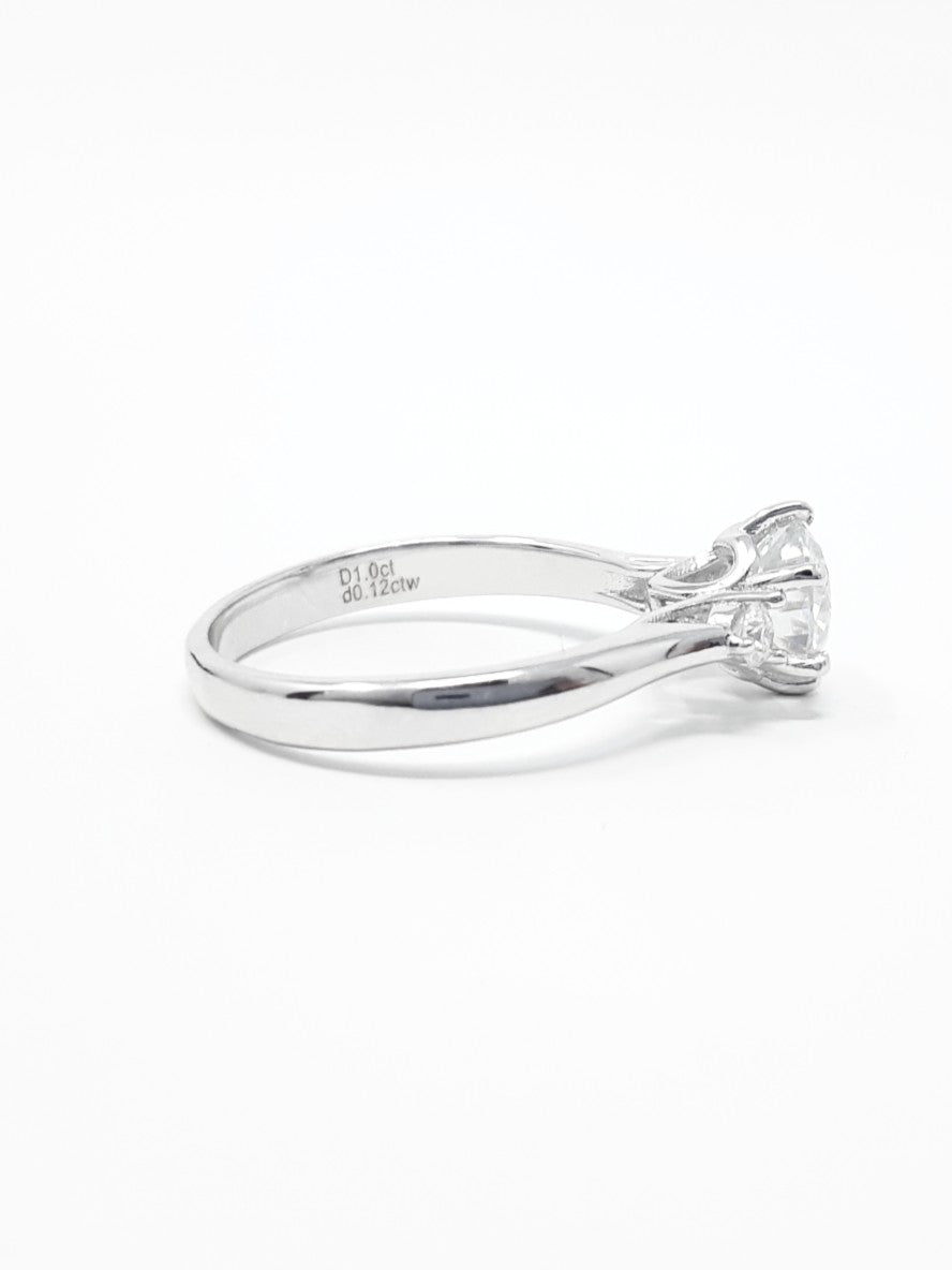 Moissanite and Silver Ring
