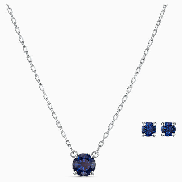 Attract round set, blue, rhodium plated 5536554