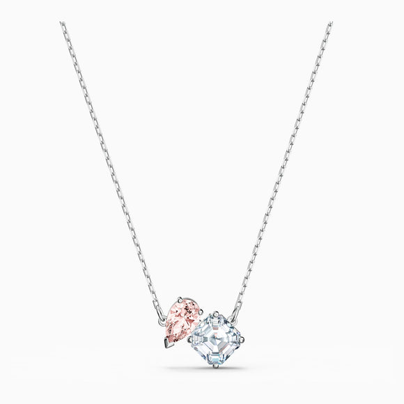 Attract soul necklace, pink, rhodium plated 5517115