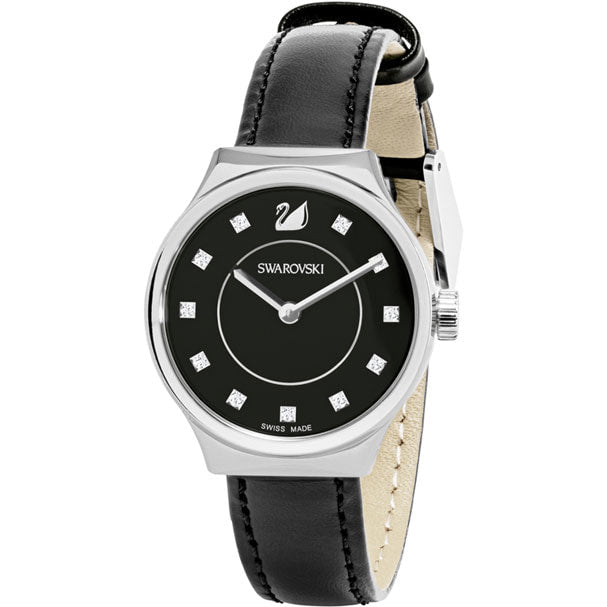 Swarovski Dreamy Watch, Leather strap, Black, Silver tone 5199931