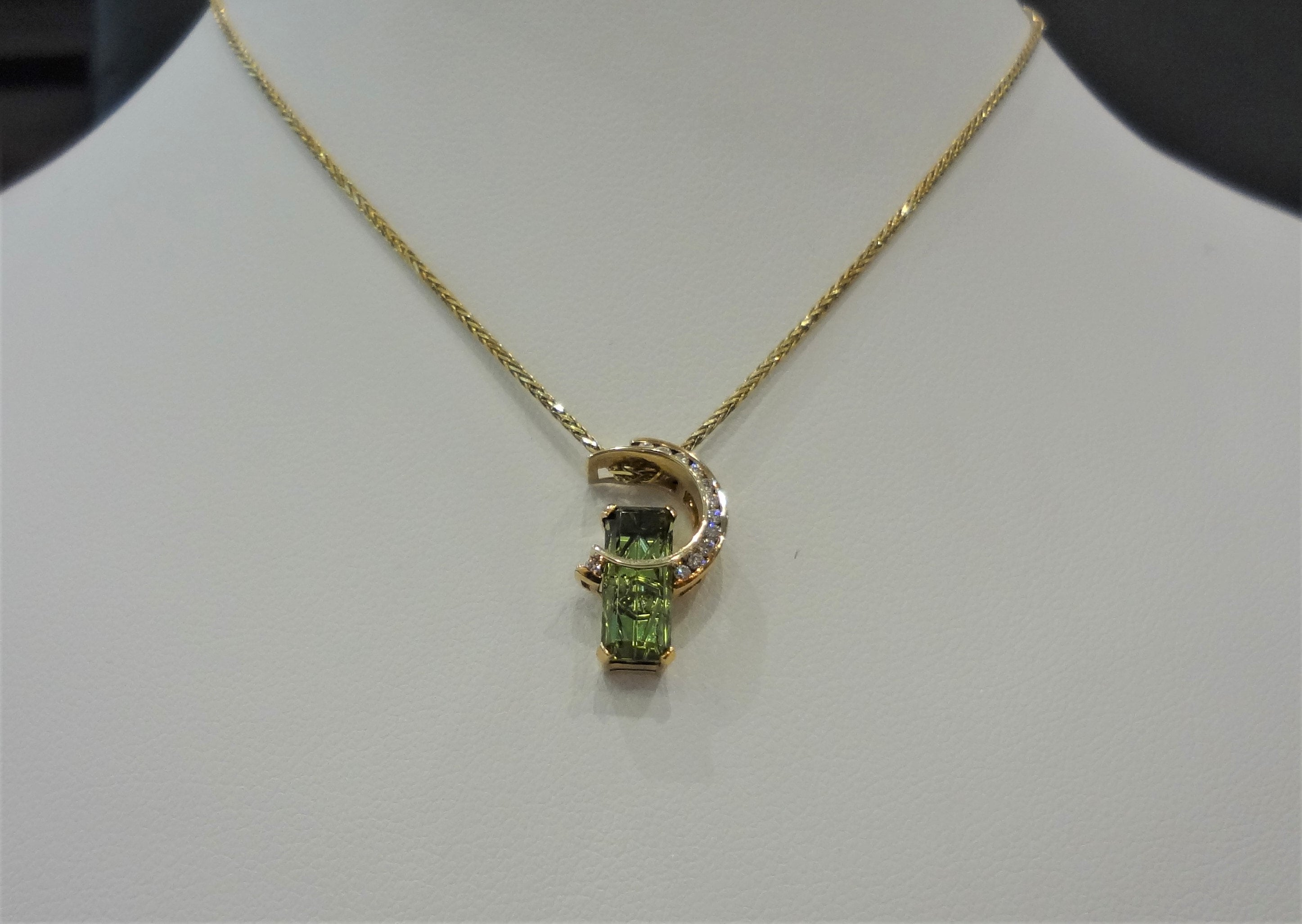 Green Tourmaline and Diamonds Pendant