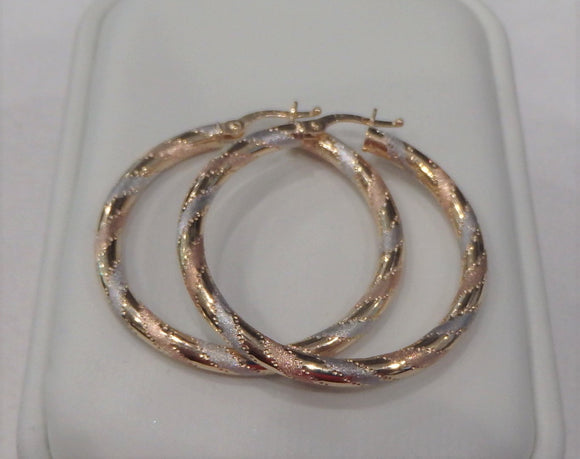 TRI TONE HOOPS EARRINGS