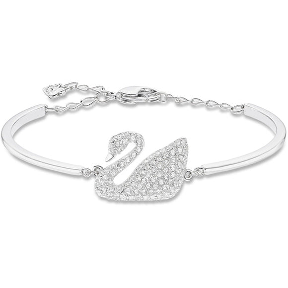 Swarovski Swan Bangle, White, Rhodium Plating-5011990