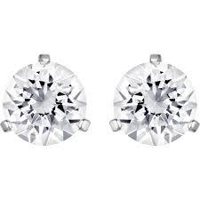 Swarovski Solitaire Pierced Earrings, White, Rhodium Plated 1800046