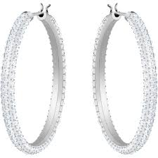 Swarovski Stone Hoop Pierced Earrings, White, Rhodium Plated 5389432