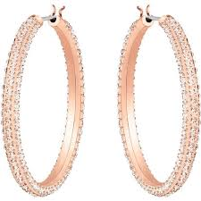 Swarovski Stone Hoop Pierced Earrings, Pink, Rose-Gold Tone Plated 5383938