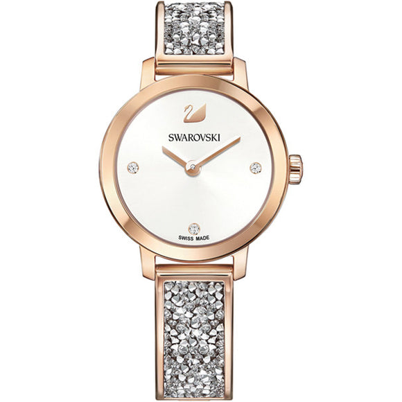 Swarovski Cosmic Rock Watch, Metal bracelet, White, Rose gold tone 5376092