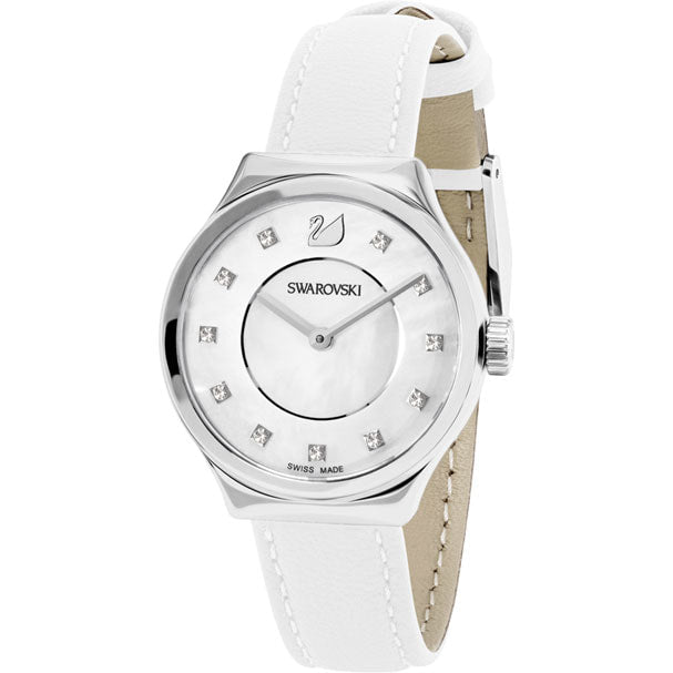 Swarovski Dreamy Watch, Leather strap, White, Silver tone 5199946