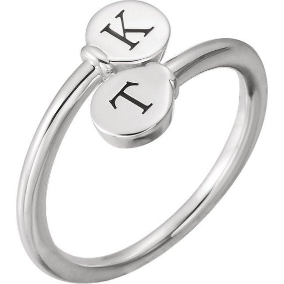 2 Initial Engravable Love Twist Ring