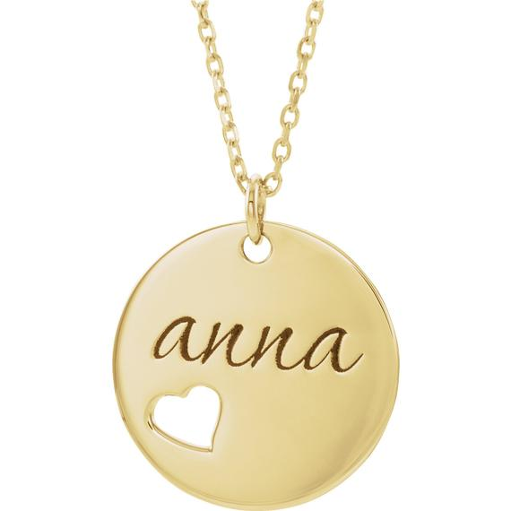 Engravable Heart Necklace 16-18