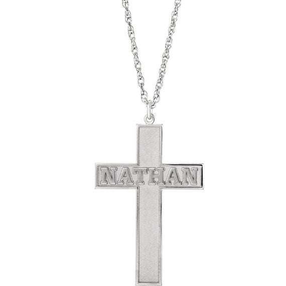 Engravable Cross Pendant with Chain