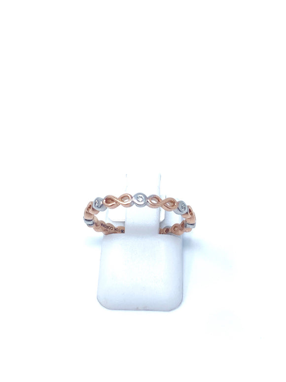 Two-Tone White/Rose Gold and Diamond Ring